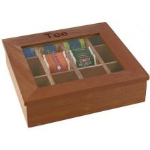 Cutie ceai din lemn cu 12 compartimente culoare inchisa