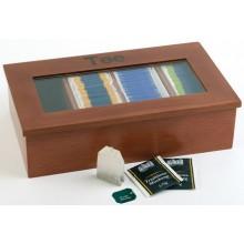 Cutie ceai din lemn cu 4 compartimente