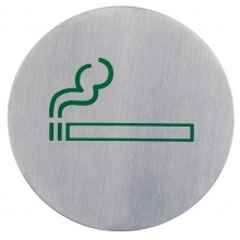 Semn indicator loc pentru fumat/fumatori din inox 7,5 cm