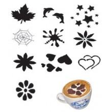 Set 10 modele plastic pentru decorare cappuccino si mini-torturi, ? 10 cm