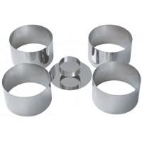 Set inox format din 4 inele mousse si un impingator; dimensiuni inel H4.5 x diam 7.5 cm