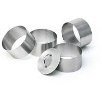 Set format din 4 forme rotunde si un impingator inox pentru prajituri
