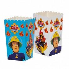 Cutii Party Pompierul Sam, Carton Impermeabil, 7 x 7 x H 14 cm, 6 Buc/Set