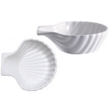 Vas alb ceramic in forma de scoica