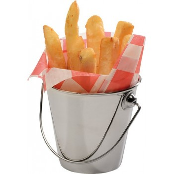 Galetusa pentru servit cartofilor prajiti, Cu toarta din inox, Dimensiune 9x8.5 cm, Volum 0.33 litri
